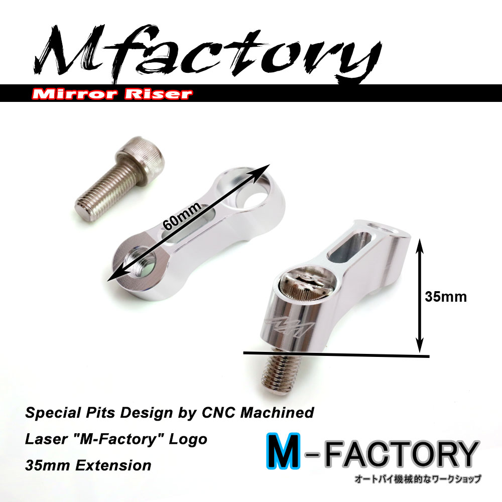 Silver Mirrors Extension Riser Adapter Tiger 800 1050 M10